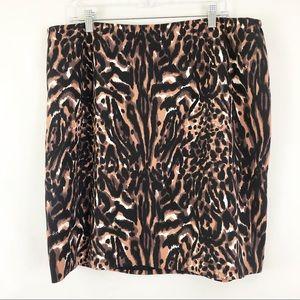 Talbots Leopard Print Pencil skirt 14 Petitie
